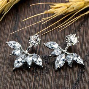 Silver & Crystal Earring Studs w/Jackets